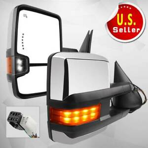 Power Heated Led Turn Signals Towing Mirrors For 99 02 Chevy Silverado Sierra