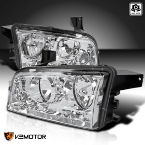 2006 2010 Dodge Charger Replacement Chrome Clear Headlights Head Lamps Assembly