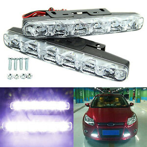 2pcs Xenon White 6 Led Super Bright Drl Daytime Running Driving Lights Fog Lamps