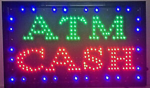 Large Animated Led Atm Cash Led Neon Sign Bright Restaurant Store 21 X 13