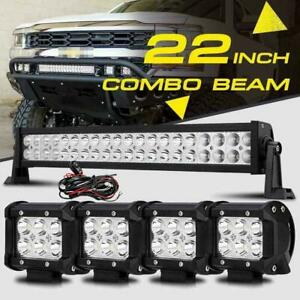 22inch 280w Cree Led Work Light Bar 4 18w Spot Flood Combo 4x4wd Jeep Ford Atv