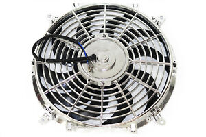 12 Chrome Curved Blade Reversible Electric Cooling Fan