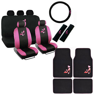 New Love Pink High Heels Hearts Car Front Back Full Seat Covers