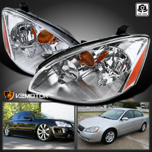 For 2002 2004 Nissan Altima Crystal Clear Headlights Head Lamps Left Right