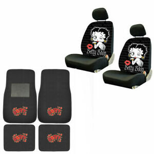 New Betty Boop Kiss Timeless Car Front Back Floor Mats Seat Covers Set
