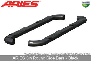 Aries Black Nerf Bars Side Steps 3in Round 2009 2018 Dodge Ram 1500 Quad Cab
