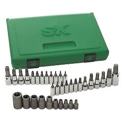 Sk Hand Tool 1 4 3 8 And 1 2 Dr Torx Bit Socket Set 35 Pc 19763