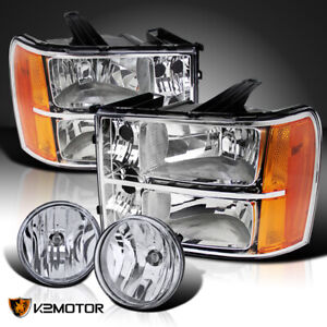 For 2007 2013 Gmc Sierra 1500 Crystal Clear Headlights fog Driving Lamps switch