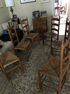 Shaker Style Ladder Back Cane Seat Chairs Antique Early American 6