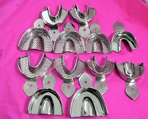 Dental Stainless Steel Perforated non Per Impression Trays Autoclavable 12 set
