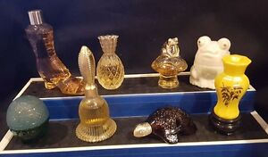 Lot 18 Vintage Perfume Glass Bottles Frogs Pineapple Bell Boot Turtle Bamboo 6