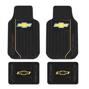 New 4pc Chevy Elite Bowtie Car Truck Front Rear All Weather Rubber Floor Mats