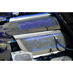 Perforated Replacement Fuel Rail Covers W blue Led For 2006 12 Corvette Z06 Ls7