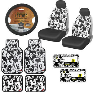 Disney 14pc Mickey Mouse Car Truck Front Rear Vinyl Rubber Floor Mat Seat Covers