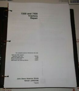 John Deere 7200 7400 Tractor Technical Service Shop Repair Manual Tm1551
