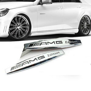 2x Oem Amg Edition Emblems Badges 3d For Mercedes Benz New Ul Quanity Chrome