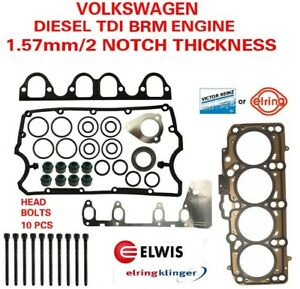2 Notch Oe Cylinder Head Gasket Set With Bolts Vw Diesel 1 9 Brm