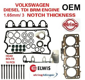 Oe Cylinder Head Gasket Set With Bolts For Vw Diesel 1 9 Brm Eng 3 Notch