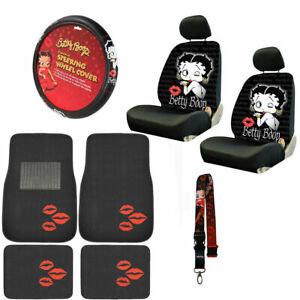 New 10pc Betty Boop Car Front Back Floor Mats Seat Covers Steering Wheel Cover