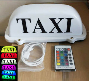 Taxi Cab Sign Car Driver Roof Top Light Remote Color Change Rechargeable Battery