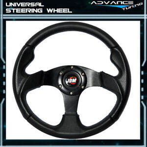 Universal 320mm 32cm Black Blue Stitch Pvc Racing Sports Steering Wheel Jdm Horn