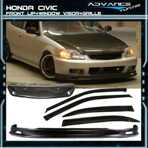 Fits 99 00 Civic 4dr Sedan Mugen Front Bumper Lip Grille Sun Window Visor
