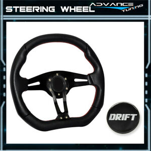 Universal 350mm Sports Racing Steering Wheel 6 Bolts Holes Drift Logo