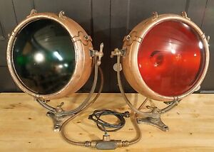 Two Large Vintage 1930 Copper Nautical Ship Navigation Lights Ge Novalux Working