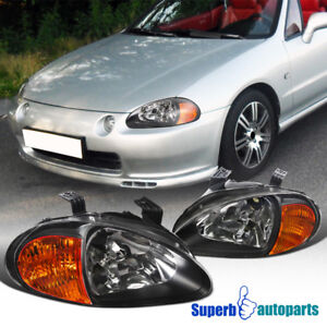 For 1993 1997 Honda Del Sol Jdm Black Headlight Head Lamps amber Reflector