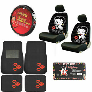 10pc Betty Boop Kiss Car Front Back Floor Mats Seat Covers Steering Wheel Cover