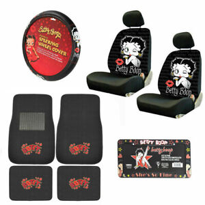 11pc Betty Boop Kiss Car Front Back Floor Mats Seat Covers Steering Wheel Cover