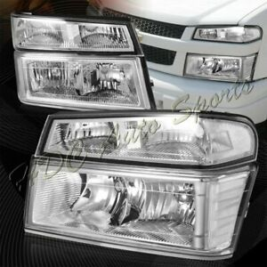 For 2004 2012 Chevy Colorado Chrome Headlights Bumper Lamp W Clear Reflect