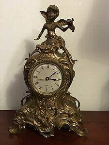Antique Solid Brass Heavy Clock With Angel Statue On Top 15
