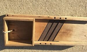 Antique Large Wood Slaw Cutter With Box