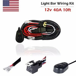 Universal Led Light Bar Wiring Loom Harness Kit Offroad Fuse Relay Switch 12v40a