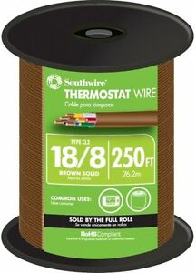 Thermostat Wire 18 awg 6 Mils Insulation Solid 8 conductor Copper Brown 250 Ft