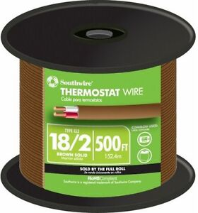 Thermostat Wire 18 awg 6 Mils Insulation Solid 2 conductor Copper Brown 500 Ft