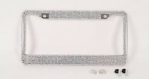 Prism Effect Silver Bling Crystal Rhinestone License Plate Frame Car Truck