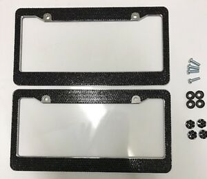 2 All Black Bling Glitter Crystal Rhinestone License Plate Frame Car Truck Auto