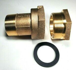 2 Water Meter Coupling Lead free Brass With Bushing For Fem Thread Meter