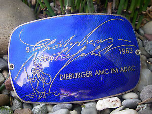 Beautiful German Sankt Christopher Rallye 1963 Dieburg Enamel Car Club Badge