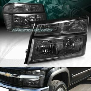 Smoke Lens Headlights Bumper Lamps W Clear Reflector Fit 04 12 Chevy Colorado