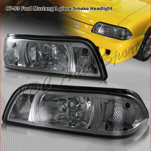 For 1987 1993 Ford Mustang 1 piece Smoke Lens Headlights W clear Reflector Lamp