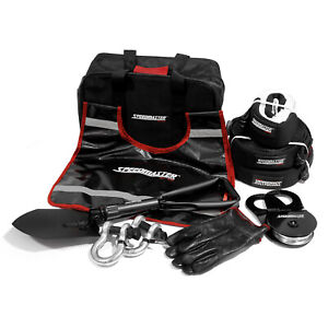 Speedmaster 4wd Winch Recovery Kit Plus snatch Shackle Straps Gloves Bag 10pc