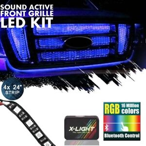 Bluetooth Led Grill Lighting Kit Neon Glow Strips Front Of Car truck Grill 24