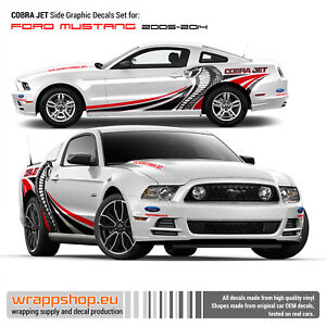 Cobra Jet Side Graphic Decals Set For Ford Mustang 2005 2014 In Red black