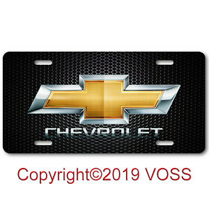 Chevy Chevrolet Bowtie Bow Tie Aluminum License Plate Tag Unique Design Carbon
