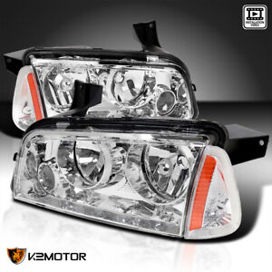 2006 2010 Dodge Charger Chrome Replacement Headlights Signal Corner Lights Pair