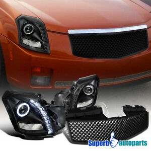 2003 2007 Cadillac Cts Smd Led Halo Projector Headlights abs Mesh Grille Black