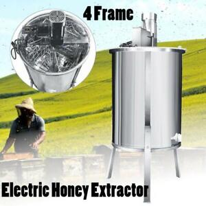 Electric 4 Frame Stainless Steel Bee Honey Extractor Beekeeping Drum Equipment